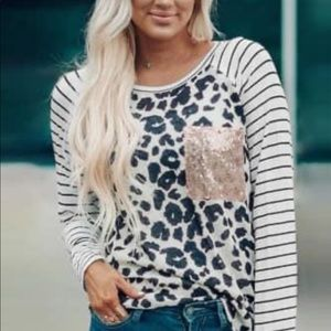 Leopard and stripe shirt